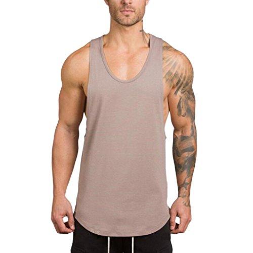 LuckyGirls Camisetas Hombre Sin Manga Verano Camisa Color Sólido Casuales Deportivas Músculo Gimnasios Polos Slim Remera (XL, Gris)
