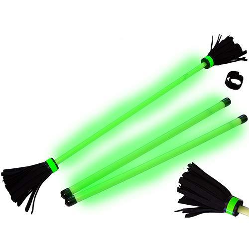 erstick Set (Glow In The Dark) mit 2mm Silikon-Körper und Holz Handstäbe! Flames N Games Flower Stick Set mit super Starke Fiberglaskern Ideal Für Kinder und Erwachsene. ()