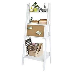 SoBuy® Modernes Bücherregal mit Schreibtisch, Standregal, Wandregal mit Korktafel, klappbar, weiß, FRG115-W