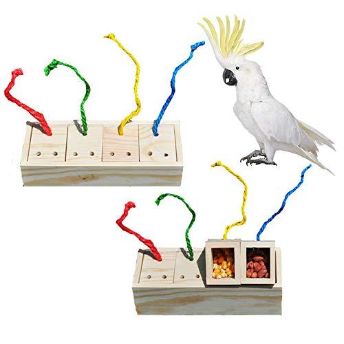Holzbox Futterstation Futterstation Verfärbte Intelligenz Spielzeug für Vögel Papageien Wellensittiche Sittiche Nymphensittiche Finken Kanarienvogel Aras, Grauer Kakadu Amazon-Käfig (Kakadu Spielzeug)