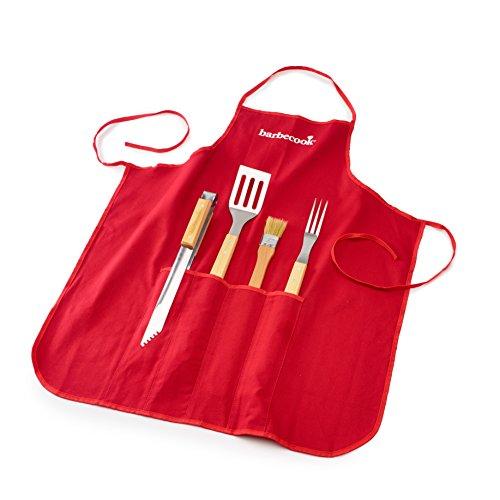 Barbecook Set tablier 4 Accessoires, pince, fourchette, brosse, spatule, Acier Inox/Bouleau FSC, 47 cm