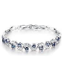 Pulsera de lujo 18 ct Chapado en oro blanco zafiro azul Crystals from Swarovski nuevo