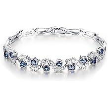 Bracciale elegante Placcato oro bianco 18 k con cristalli Swarovski blu zaffiro