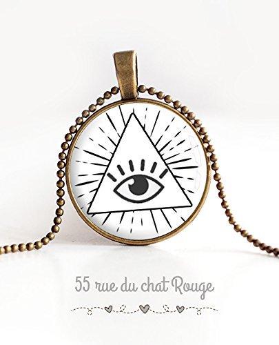 Glas Cabochon Anhänger Halskette Auge des Schutzes, Auge der Vorsehung, schwarz und weiß