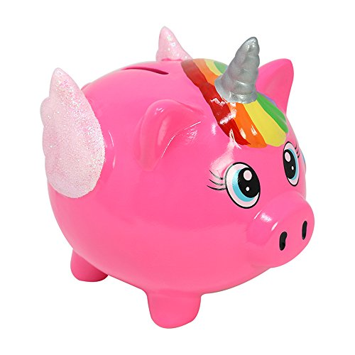 com-four® Hucha de cerámica Cuerno de Cerdo - Hucha en diseño de Unicornio - Hucha en Rosa (01 Piezas - 12 cm Rosa)