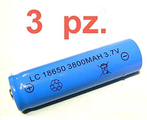 Kit 3 batterie ricaricabili per torcia led: modello ultra: +li-ion batteria 3,7 v - lc 18650 da 4200 mah - dim: 65 x 18 mm è il modello più usato nelle nuove torce a led: ottima per sostituire esausta o per ampliare portata