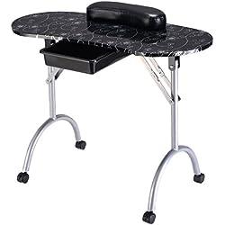 Portátil Manicura mesa de uñas plegable Escritorio mesa salón de belleza con Cajón (Negro)