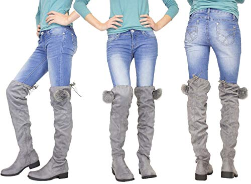 fdcab8bed9d3 Flirty Wardrobe Womens Knee High Boots Pompom Detail Ladies Flat Heel Lace  Long Boot Uk - £13.95