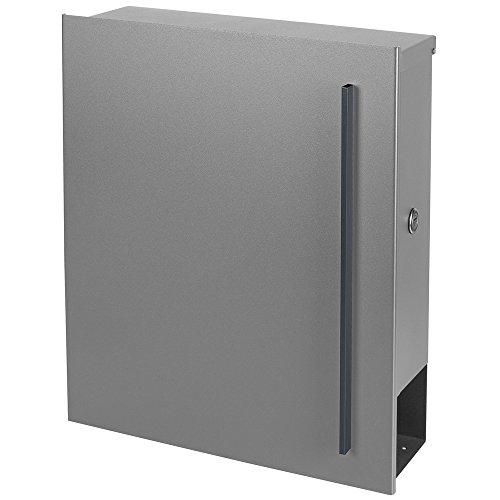 Design-Briefkasten mit Zeitungsfach 12 Liter silber seidenglanz (RAL 9006) MOCAVI Box 115 weißaluminium Wandbriefkasten Postkasten - 4