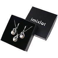Imixlot Elegant Big Bead Crystal Pendant Necklace Earring Bridal Jewelry Sets