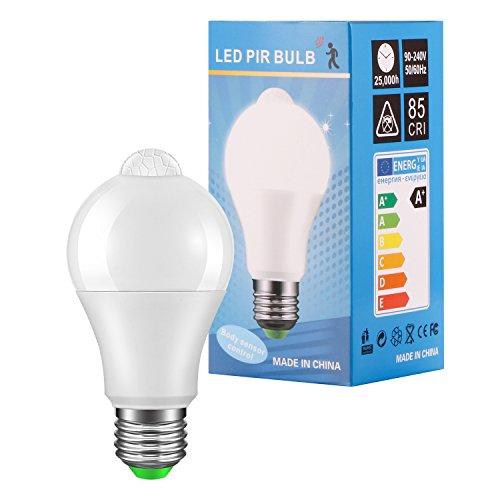 TiooDre Ampoule Detecteur de Mouvement,E27 LED Ampoule Capteur de Lumière Capteur PIR AC 85-265V Économie d'énergie 12W Ampoule LED Lampe 6000K Blanc Froid pour Entrée