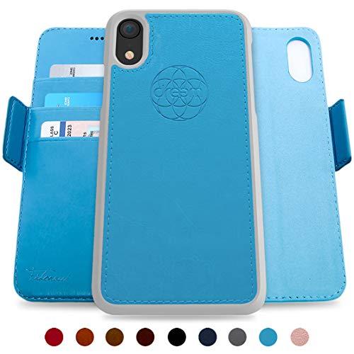 Dreem Fibonacci Brieftasche & Schutz-Hülle für iPhone XR, magnetisches herausnehmbare TPU Case, dünn bruchfest, 2 Standfunktionen, hochwertige synthetische Leder-Tasche, RFID Schutz - Himmelblau (Apple Iphone Cell)