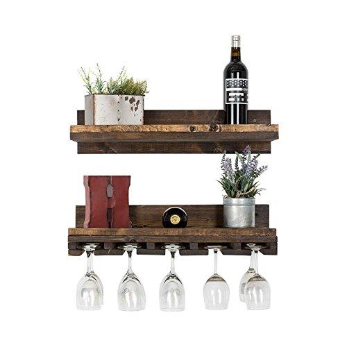 Rustikal Luxe Schwimmende Wein Regal und Glas Rack Combo, USA handgefertigt, Kiefernholz, holz, walnuss, 6H x 24W x 10D