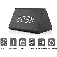Triángulo moderno de madera LED Alarma de madera Reloj de escritorio digital con fecha y temperatura Control de sonido Mesa de escritorio Despertador para niños Dormitorio, Hogar, Oficina-Negro