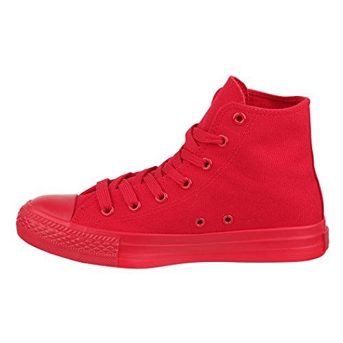 Elara Unisexe High Top Sneakers Chaussures de Sport Tissu Chaussures de Loisirs All Rot