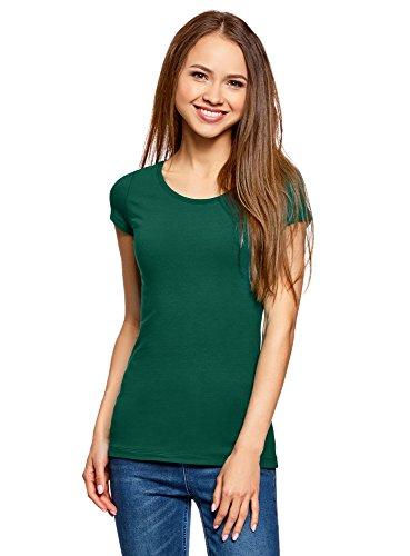 oodji Ultra Damen Tagless Tailliertes T-Shirt Basic (2er-Pack), Grün, DE 42 / EU 44 / XL