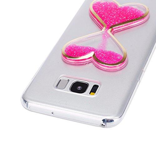 FESELE Coque Galaxy S8,Housse Etui pour Samsung Galaxy S8,Transparent Cristal Gliter Sparkle Coque Liquide Sables Housse Etui Créatif Désign Love Coeur d'Amour Hourglass Sablier TPU Coque Bling Paille Rose
