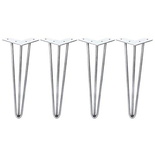 mochiglory Set von 4Metall Haarspange Kaffee Tisch Beine 40,6cm, läufig) Stahl roh Moderne DIY Schreibtisch Bank Stuhl Möbel Stützfuß 34