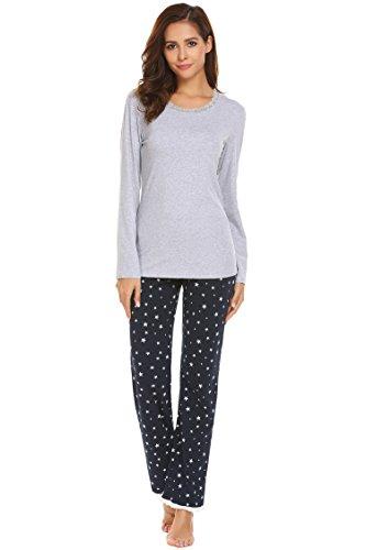 ADOME Damen Zweiteiliger Schlafanzug Rundhalsausschnitt Pyjama Set Nachtwäsche Hausanzug Freizeitanzug Lang, Grau847, EU 36 (Herstellergröße: - Langarm Nachthemd Thermo