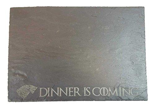 """Game of Thrones maison Stark """"Dinner IS Coming"""" Ardoise Planche à découper/Planche de service"""