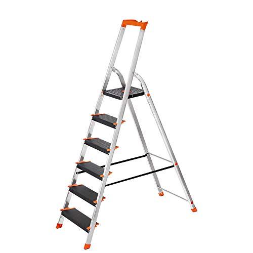 SONGMICS Escalera de 6 Peldaños, Escalera de Aluminio con Peldaños de 12 cm de Ancho, Escalera Plegable con Bandeja y Pies Antideslizantes, Máx. Carga Estática 150 kg GLT06BK