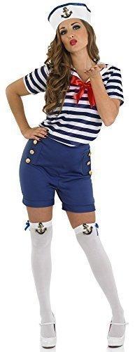 Damen Kostüm sexy Matrose Marine Militäruniform mit Strümpfen - Blau, EU (Marine Matrosen Kostüm)