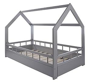 velinda kinderbett hausbett spielbett abenteuerbett einzelbett mit absturzsicherung farbe grau. Black Bedroom Furniture Sets. Home Design Ideas