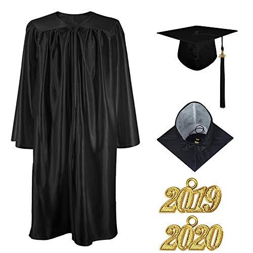 Kostüm Abschluss Robe - TopTie Abschluss-Kleid Kappen Quaste 2019 Kostüm Roben Glänzend für Kind Vorschule und Kindergarten Schwarz S