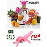 REDFAM Fruit And Vegetable Big Royal Juicer With Steel Handle Plus Waste Cup(Women Love Colour-Light Pink) And Get Salad Peeler Cutter(*Worth Rs 160*) Free
