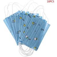 Senoow - 10 mascarillas desechables para niños con cara de boca médica, antipolvo, para orejas