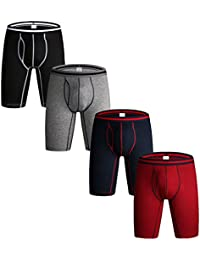 Nuofengkudu Pack of 3 & 4 Men's Long Leg Boxer Shorts Briefs Cotton Multipack Open Fly Pouch Sports Underpants Underwear Assorted Colors S,M,L,XL,XXL
