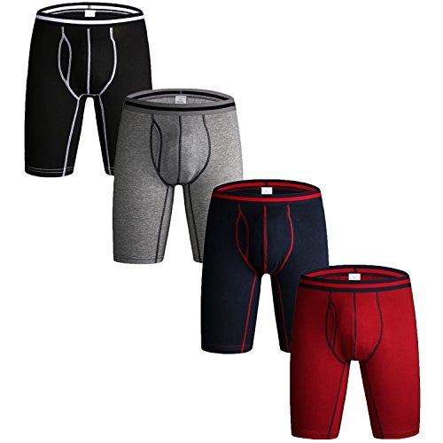 Nuofengkudu Herren Männer Mode Retroshorts Langes Bein Sport Elastan Boxershort Shorts Brief Unterhosen Retropants Panties Underwear 4er Pack Schwarz/Blau/Grau/Rot Größe M