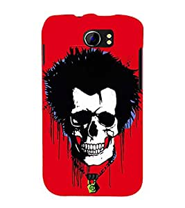 Fiobs Designer Phone Back Case Cover Micromax Canvas 2 A110Q :: Micromax A110Q Canvas 2 Plus :: Micromax Canvas 2 A110 ( Skull Red Spike Rock Star Look )