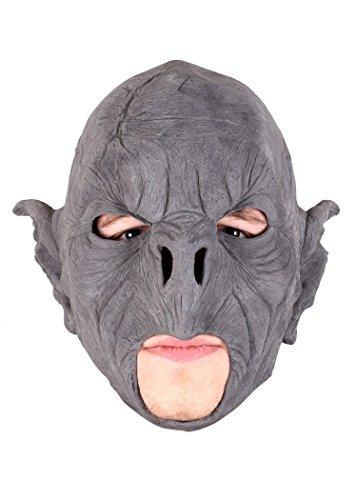 Schaurige Maske Wilder Ork, unbemalt zum Selbstgestalten Fratze Herrenmaske Halloween LARP Cosplay Orkgesicht aus Latex Faschingskostüm