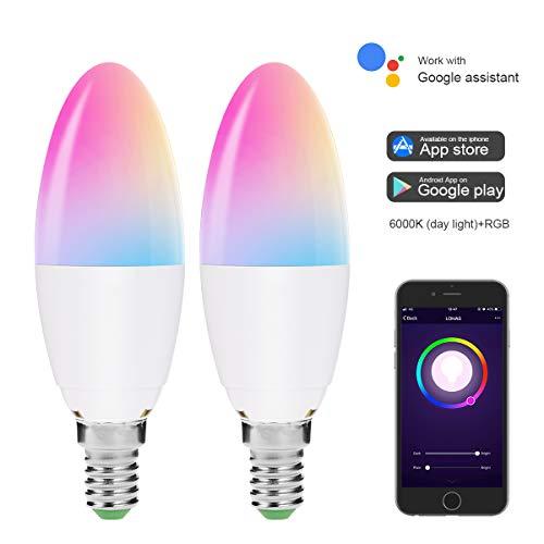Lohas WiFi Smart lampadina E14, funziona con Alexa, Google home, ifttt, 5W=40W candela luci, Bianco Giorno 6000K+RGB cambio di colore lampada LED, ideale per cucina, camera da letto, salotto,2pezzi