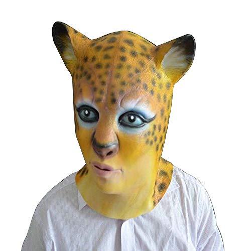 IENPAJNEPQN Latex Leopard Kopfmaske Set Bar Party Make-up Parodie Partyartikel (Color : Leopard, Size : One - Einfach Teufel Kostüm Makeup
