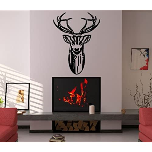 Stag head deer head statement lounge living room hallway porch bedroom study wall sticker wall art wall vinyl wall decal wall mural regular size large