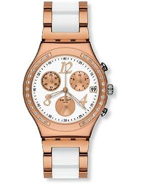 Swatch Damen-Armbanduhr Irony Chrono Chronograph verschiedene Materialien DreamWhite Rose YCG406G