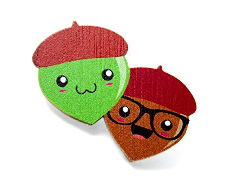 Elsterchen Brosche aus Holz für Kinder *** Eicheln ***