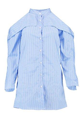 Damen Blau Petite Kelis Gestreiftes Hemdkleid Mit Ausgeschnittenen Schultern Blau