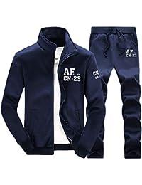 Wenchuang Tuta da Ginnastica Uomo 2 Pezzi Casuale Stand Collare Giacca  Sportiva Pantaloni da Jogging 66a591ef4fb8