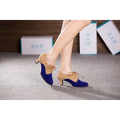 Ruhe @ Damen Tanzschuhe Latin/Ballsaal Bauch/Latin/DANCE Sneakers/Samba Beflockung/Synthetik Cuban/blau/silber fuchsia