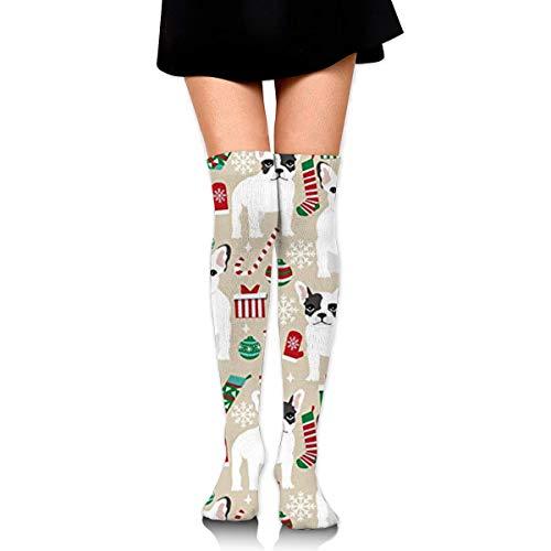 French Bulldogs Christmas Compression Socks Foot Long Stockings Knee High Socks Men Women Supports Sport Running Cycling Football Slim Leg Travel Medical Nursing -
