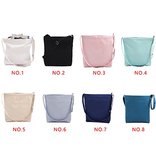 Miaomiaogo Sacchetti della borsa della spalla della tela di canapa di colore solido semplice Letterario Borse piccole delle nuove donne fresche azzurro