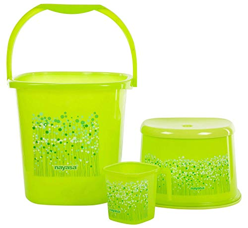 Nayasa Funk Square DLX 3 Pcs Bathroom Set (Bucket 25...
