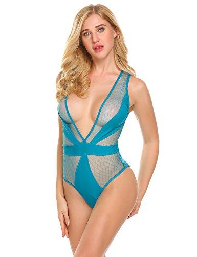 Avidlove Damen V-Ausschnitt Body aus Netz blickdichtem Material Ärmellos Bodysuit Mesh Top in eng Stringbody Erotik Dessous Negligee Reizwäsche Blau