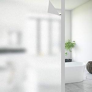 FORTUNAM Fensterfolie Sichtschutzfolie Milchglasfolie Glasfolie Selbstklebend Folie Fenster Statische Haftung Blickdicht…