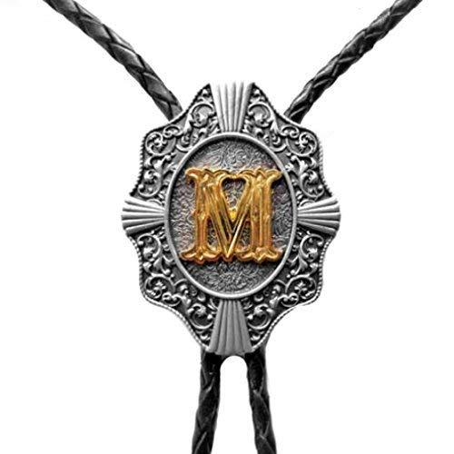 Western Bolo Tie mit Buchstabe M, 24 ct Goldauflage, Bolotie