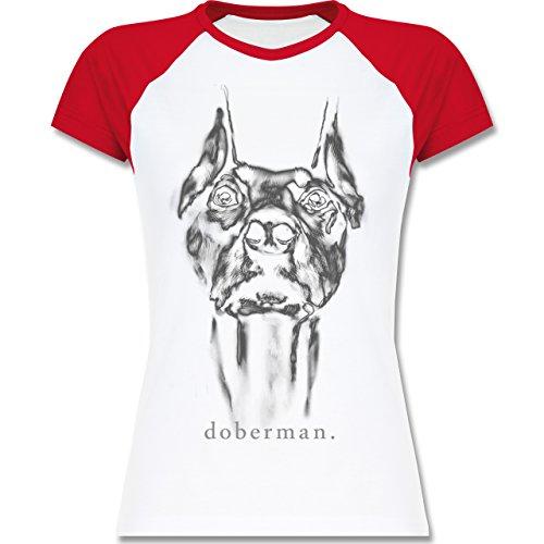 Shirtracer Hunde - Doberman - Zweifarbiges Baseballshirt/Raglan T-Shirt für Damen Weiß/Rot