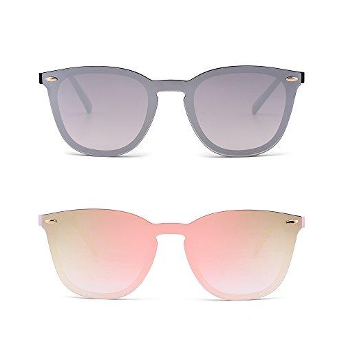 JIM HALO Randlos Sonnenbrille Ein Stück Spiegel Reflektierend Brille für Damen Herren 2 Stück (Spiegel Silber & Spiegel Pink)